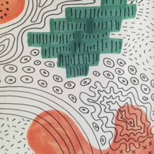 Abstract black ink patterns on paper with salmon and dark green marker background