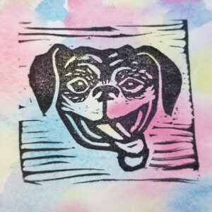 Block print of a Block print of a boxer dog smiling with its tongue sticking out on a muted rainbow background